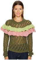 Moschino Green Ruffle Sweater Women's Sweater