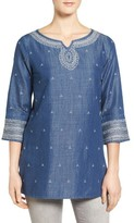 Nic+Zoe Women's Embroidered Denim Tunic