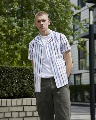 The Idle Man - Knit Stitch Detail Revere Collar Shirt White