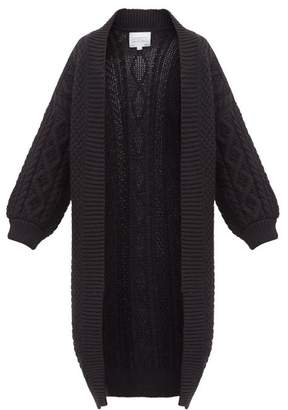 I Love Mr Mittens Long Line Open Front Cabled Wool Cardigan - Womens - Black