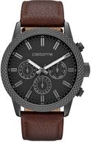 Claiborne Mens Brown Textured Bezel Leather Strap Watch