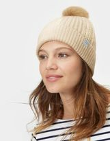 Joules Knitted Bobble Hat in Porcelain in One Size
