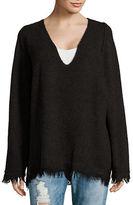Free People Irresistible V-Neck Frayed Sweater