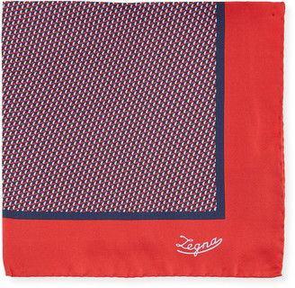 Ermenegildo Zegna Men's Micro-Geometric Silk Pocket Square, Red
