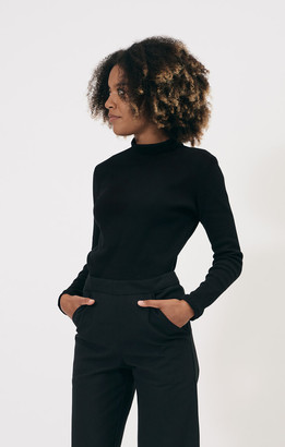 Shio Black Turtleneck Longsleeve Rib Jersey - S/M | cotton | black - Black/Black
