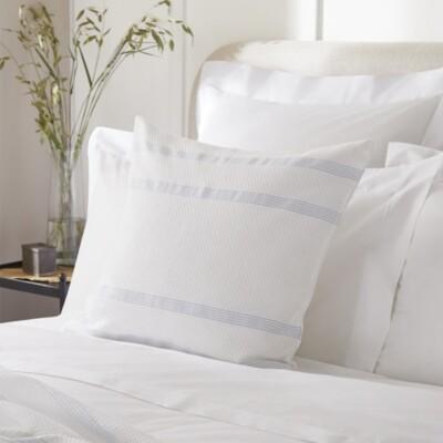 The White Company Miles Cushion Cover, Soft Blue, Medium Square