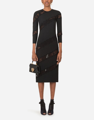 Dolce & Gabbana Cady And Lace Calf-Length Sheath Dress