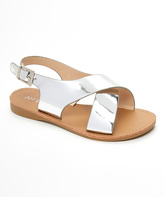 Silver Crossover-Strap Sandal