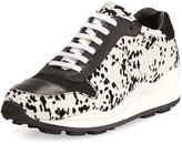 Opening Ceremony Flocked Low-Top Sneaker, White/Black