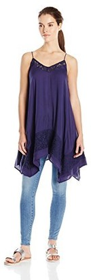 Blu Pepper Women's Spaghetti Strap Tunic Top with Crochet Applique