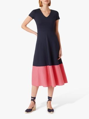 Hobbs Evangeline Colour Block A-Line Dress, Navy/Pink