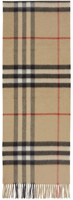 Burberry Beige Cashmere Giant Check Scarf