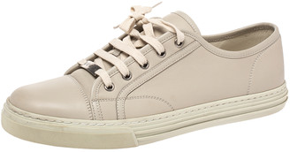 Gucci Beige Leather Low Top Lace Up Sneakers Size 39.5