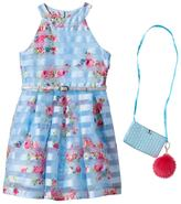 Knitworks Girls 4-6x Belted Floral Burnout Stripe Halter Dress with Crossbody Accessory Purse