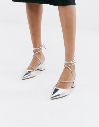 Raid Honor silver ankle tie heeled shoes