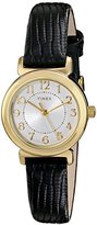 """Timex Women's T2P4309J """"Main Street Modern Minis"""" Gold-Tone Watch with Black Genuine Leather Band"""
