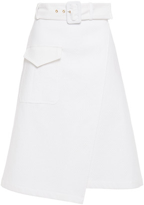 Boutique Moschino Wrap-effect Belted Cotton-blend Skirt