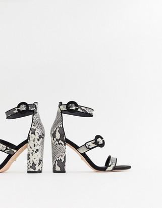 Faith Dellar snake print block heeled sandals