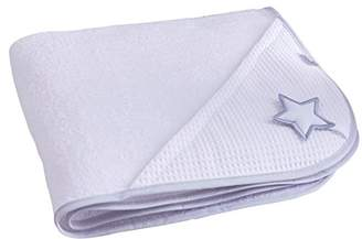 Clair De Lune Silver Lining Cotton Hooded Baby Towel (White/Grey)