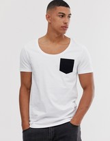 Asos Design DESIGN t-shirt with deep scoop neck and contrast pocket in white