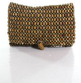 Club Monaco Brown Gold Beaded Striped Toggle Closure Clutch Handbag