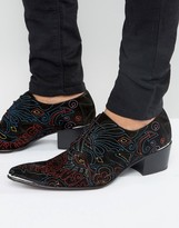 Jeffery West Sylvian Embroidered Suede Derby Shoes