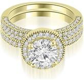 Ice 1 6/7 CT TW Halo Round Cut Diamond Bridal Set in 18K Yellow Gold