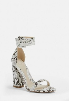 Missguided Gray Snake Large Buckle Flared Block Heels