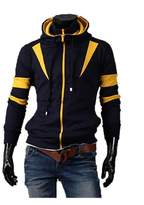 KingField Fashion Men's Slim Color Patchwork Hooded Double Zipper Fleece Sweater