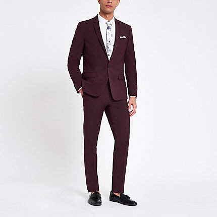 River Island Mens Purple stretch skinny fit suit trousers