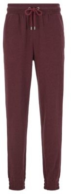 HUGO BOSS Cuffed Loungewear Pants In Double Faced Melange Fabric - Dark Red