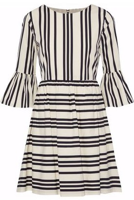 Alice + Olivia Striped Cotton-poplin Mini Dress