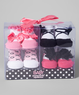 Baby Essentials Pink Mary Jane Four-Pair Socks Set
