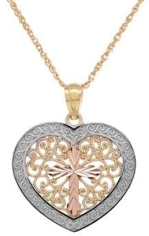 Lord & Taylor 14K Gold Filigree Heart Pendant Necklace