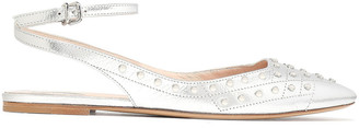 Tod's Studded Metallic Textured-leather Point-toe Flats