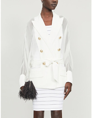 Balmain Sheer-panelled double-breasted crepe blazer