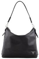 Prada Soft Calf Zip-Top Hobo Bag, Black (Nero)