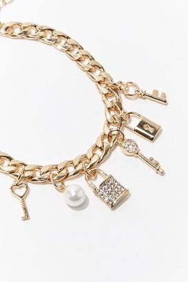 Forever 21 Lock Key Charm Bracelet