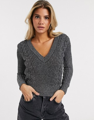 Ivyrevel cropped v-neck sweater in metallic silver