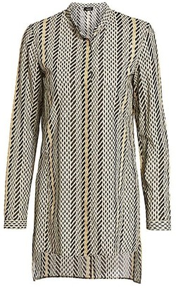 Akris Tweed-Print Long-Sleeve Wool Blouse