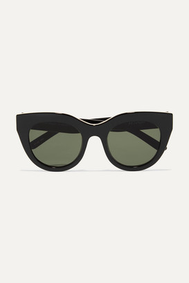 Le Specs Air Heart Cat-eye Acetate And Gold-tone Sunglasses - Black