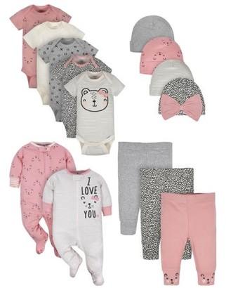Gerber Baby Girls Organic Onesies, Pants, Sleep 'N Play, and Caps Outfit Set, 14-Piece