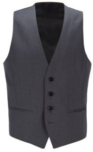 BOSS Slim-fit waistcoat in virgin wool with natural stretch