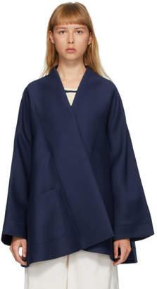 Lanvin Navy Wool Silk Kimono Jacket