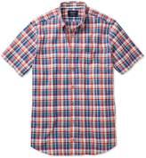 Charles Tyrwhitt Slim Fit Short Sleeve Orange and Blue Check Cotton/linen Casual Shirt Single Cuff Size Medium