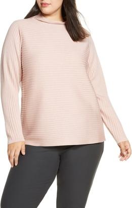 Eileen Fisher Funnel Neck Merino Wool Sweater