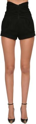 Saint Laurent High Waist Draped Sable Shorts