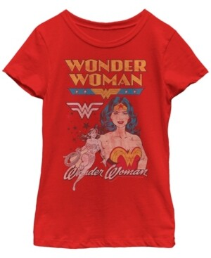Fifth Sun Dc Comic's Big Girl's Retro Wonder Woman Profile Short Sleeve T-Shirt