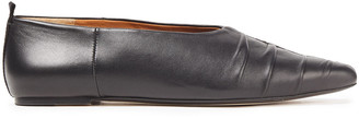 Joseph Ruched Leather Point-toe Flats