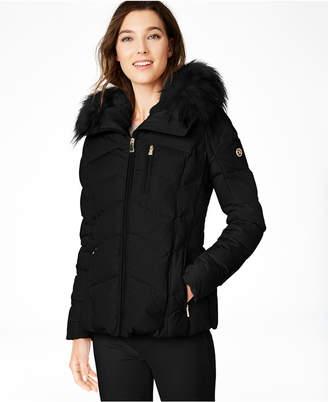 Calvin Klein Petite Faux-Fur-Trim Hooded Down Puffer Coat